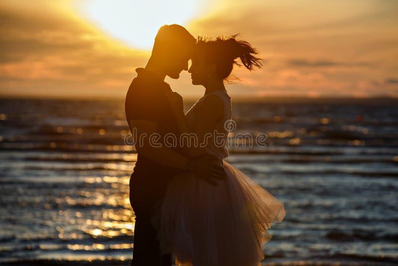 Silhuetas dos homens e das mulheres na saia curto luxúria, beijando o AG fotos de stock