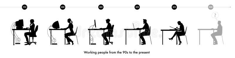 Silhuetas dos homens e das mulheres que trabalham desde os anos 90 ao presente ilustração royalty free