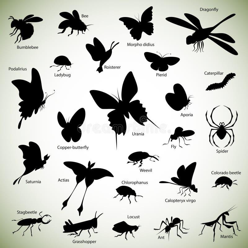 Silhuetas dos insetos ilustração stock