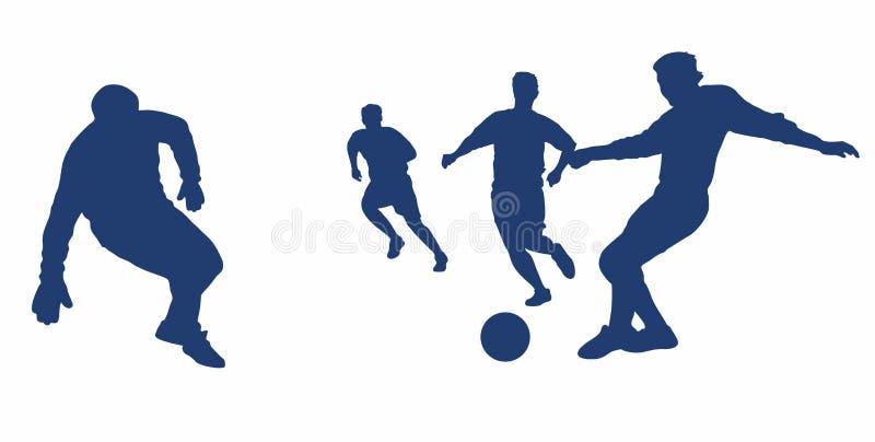 Silhuetas dos jogadores ao jogar o futebol O jogo do futebol ilustração royalty free