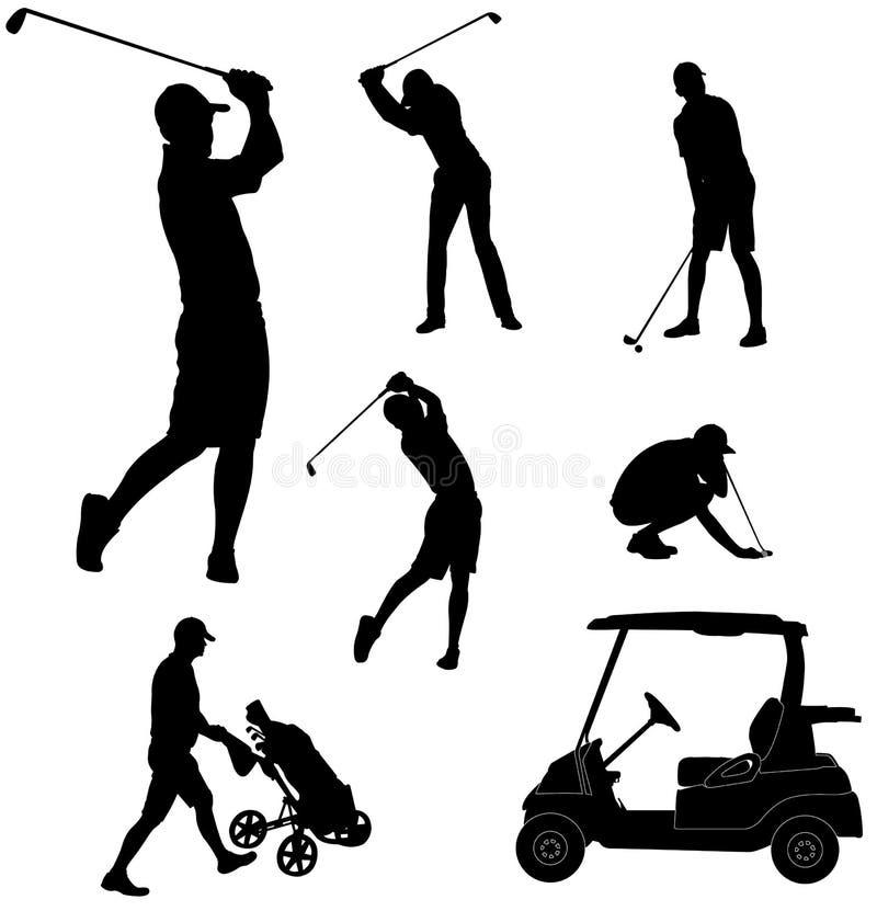 Silhuetas dos jogadores de golfe ilustração do vetor