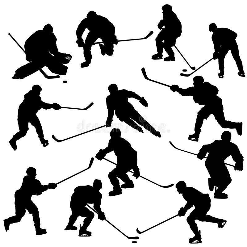 Silhuetas dos jogadores de hóquei em gelo ajustadas ilustração royalty free