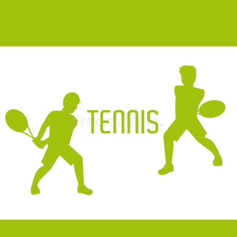 Silhuetas dos jogadores de tênis ilustração royalty free