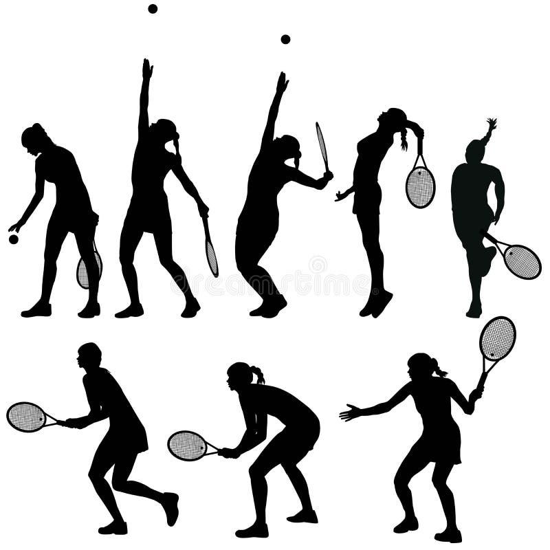 Silhuetas dos jogadores de tênis ilustração stock