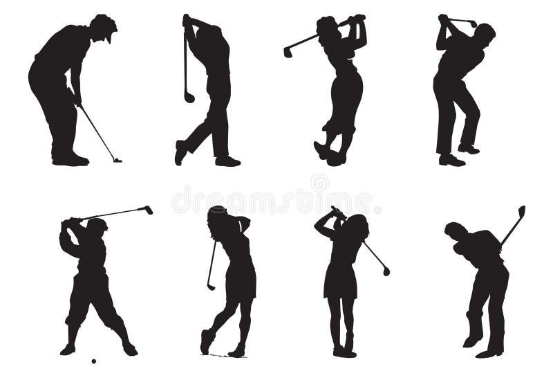 Silhuetas dos jogadores do golfe ilustração royalty free