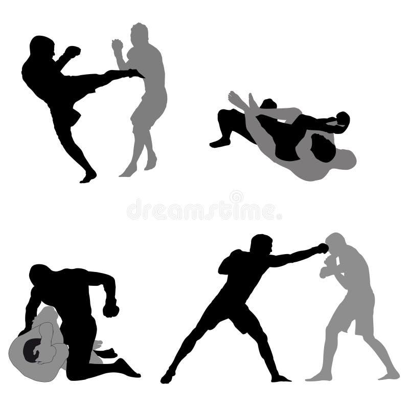 Silhuetas dos lutadores do Muttahida Majlis-E-Amal ilustração stock
