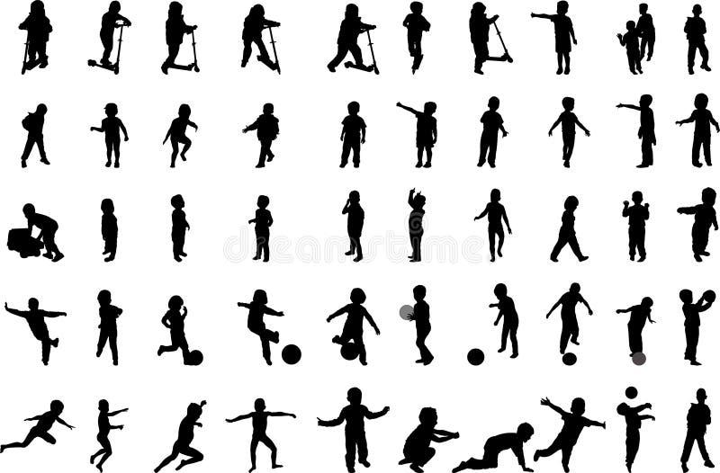 50 silhuetas dos meninos ilustração royalty free