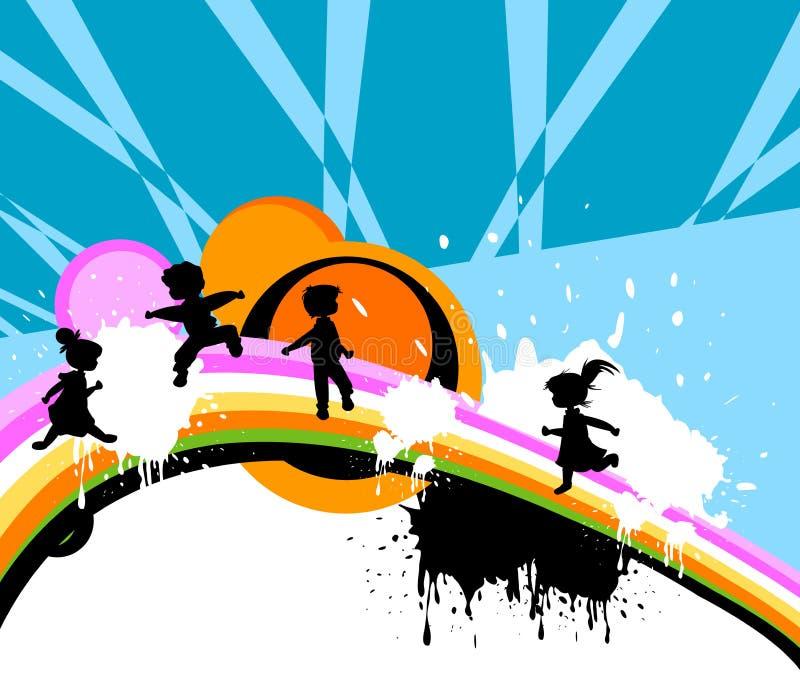 Silhuetas dos miúdos ilustração do vetor
