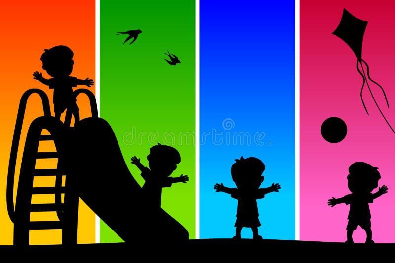 Silhuetas dos miúdos no parque [2] ilustração do vetor
