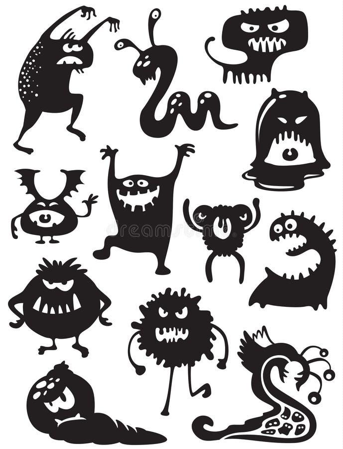 Silhuetas dos monstro ilustração do vetor