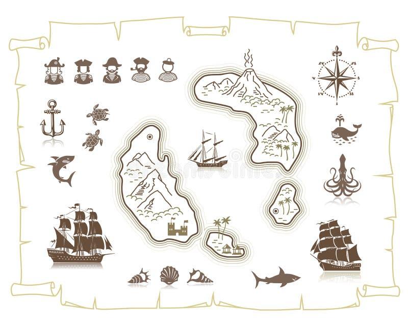 Silhuetas dos navios de naviga??o e grupo de s?mbolos marinho ilustração do vetor