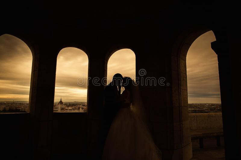 Silhuetas dos noivos que est?o no fundo da cidade da noite e que olham maciamente se no por do sol fotografia de stock royalty free