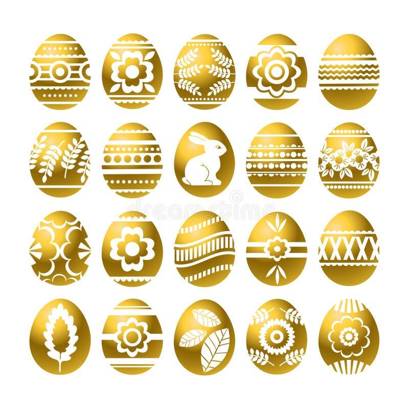 Silhuetas dos ovos da páscoa dourados isolados no fundo branco Ovos da páscoa do feriado decorados com flores, coelho, folhas Pás ilustração royalty free