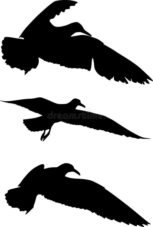 Silhuetas dos pássaros ilustração stock