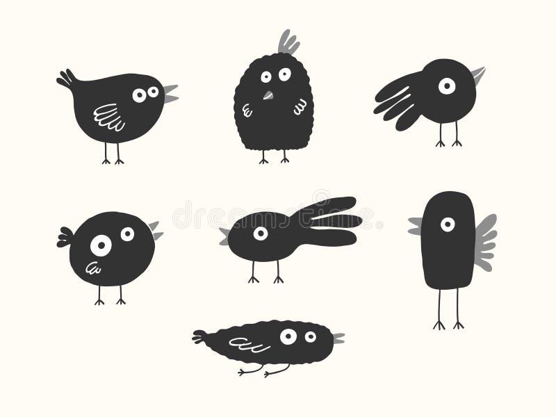 Silhuetas dos pássaros ajustadas ilustração royalty free