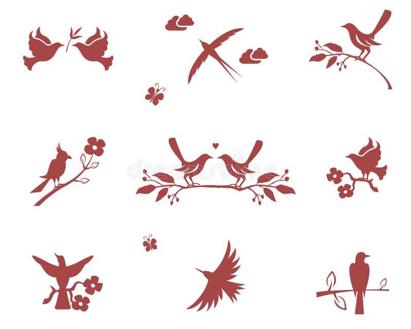 Silhuetas dos pássaros em ramos ilustração do vetor