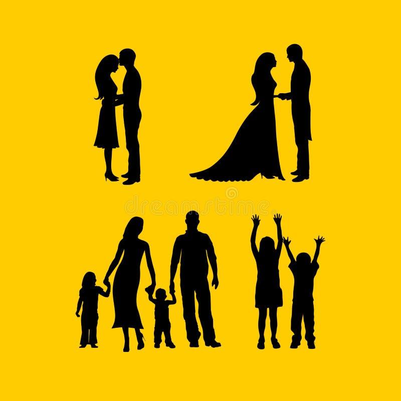 Silhuetas dos pares no amor, em um casamento, com a família ilustração do vetor