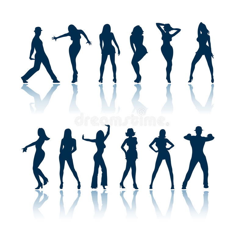 Silhuetas dos povos da dança ilustração stock