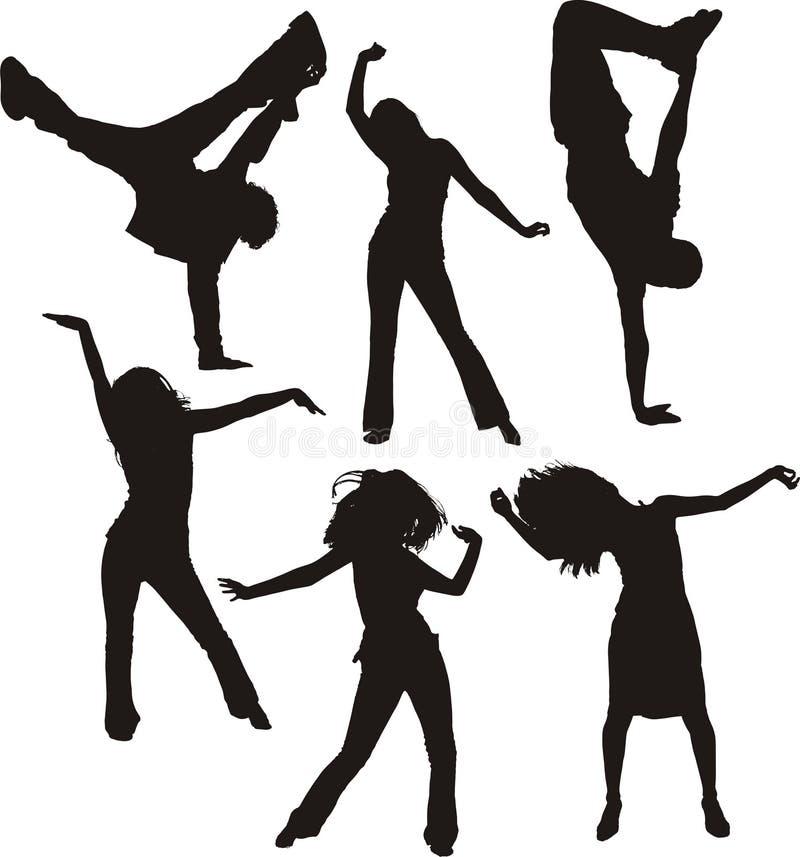 Silhuetas dos povos da dança ilustração do vetor