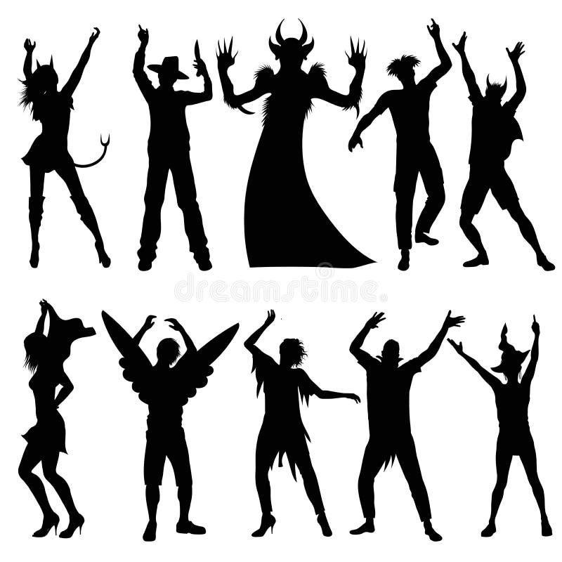 Silhuetas dos povos do partido em trajes do Dia das Bruxas ilustração royalty free