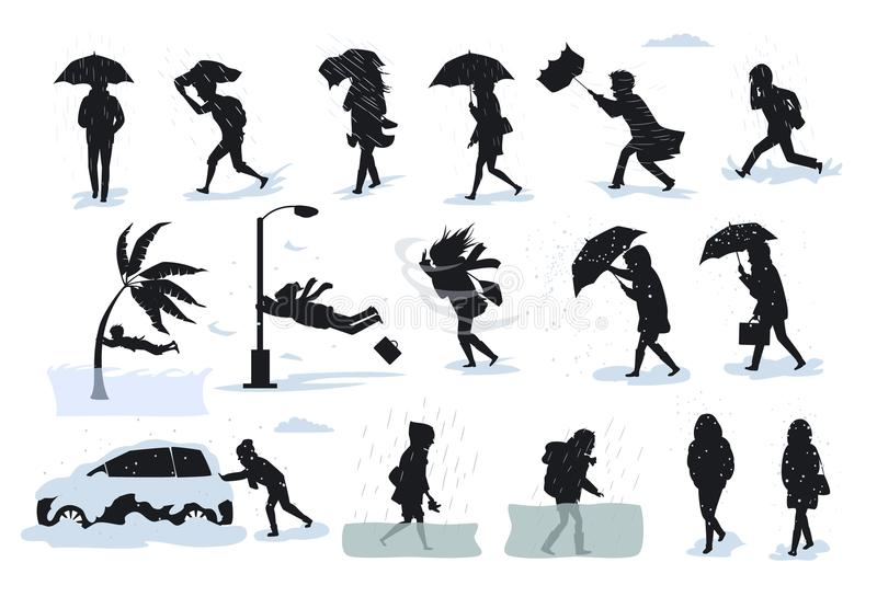 Silhuetas dos povos durante condições de mau tempo, corrida de passeio durante o vento forte da chuva, saraiva, tsunami, tempesta ilustração royalty free