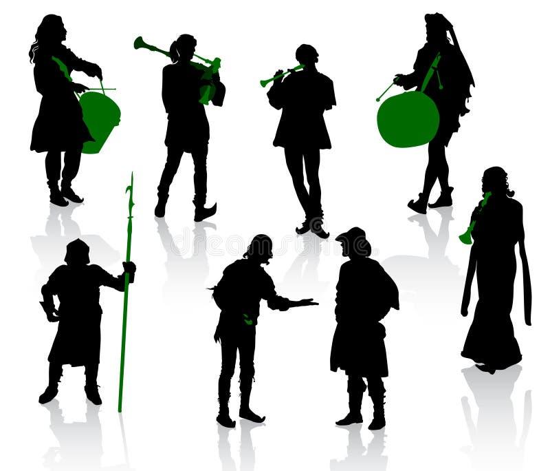 Silhuetas dos povos em trajes medievais. ilustração stock