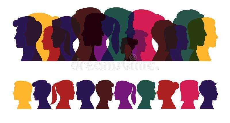 Silhuetas dos povos, perfil colorido dos homens e mulheres ilustração do vetor