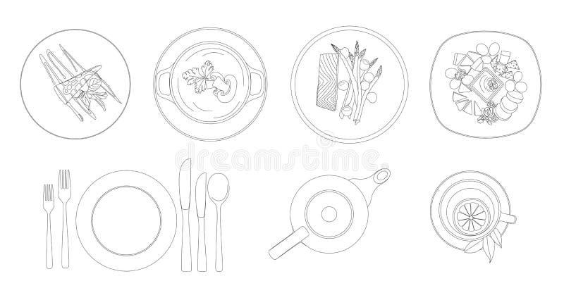Silhuetas dos pratos, da cutelaria e da louça Vista superior desenho do contorno Ilustração do vetor ilustração stock