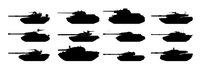 Silhuetas dos tanques ajustadas ilustração stock