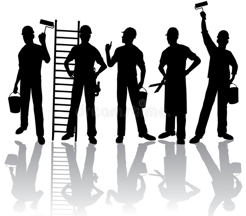 Silhuetas dos trabalhadores ilustração do vetor