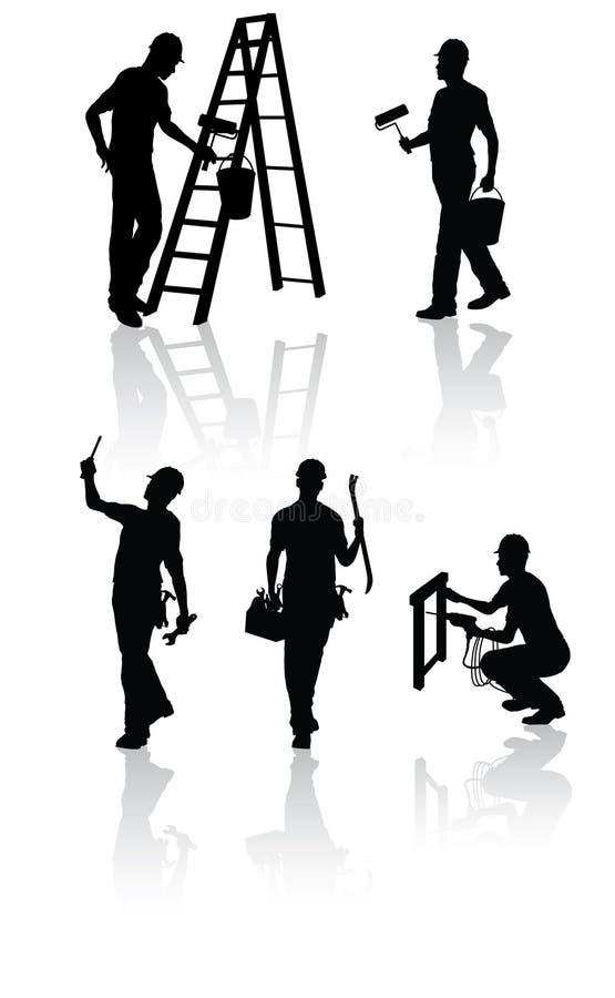 Silhuetas dos trabalhadores da construção ilustração royalty free