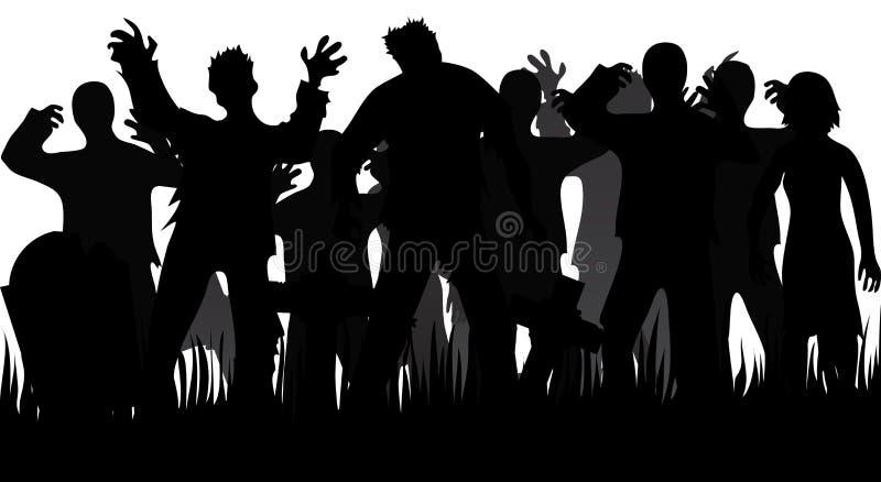 Silhuetas dos zombis e das lápides ilustração royalty free