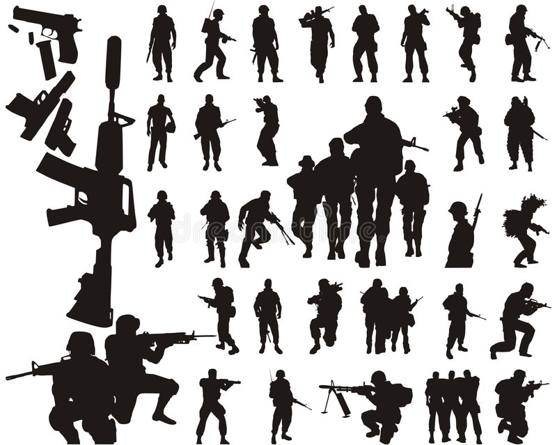 Silhuetas e braços do soldado ilustração stock