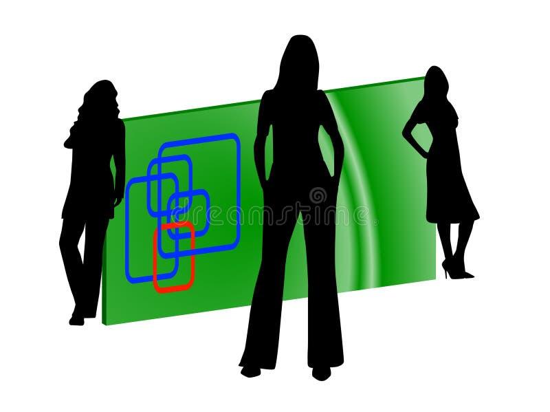Silhuetas e cartão das mulheres. Logotipo ilustração royalty free