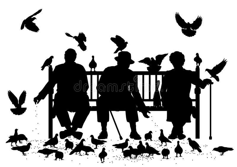 Alimentadores do pombo ilustração do vetor