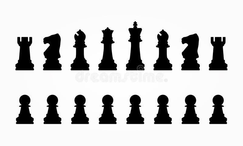Silhuetas editáveis do vetor de um grupo de partes de xadrez padrão ilustração do vetor