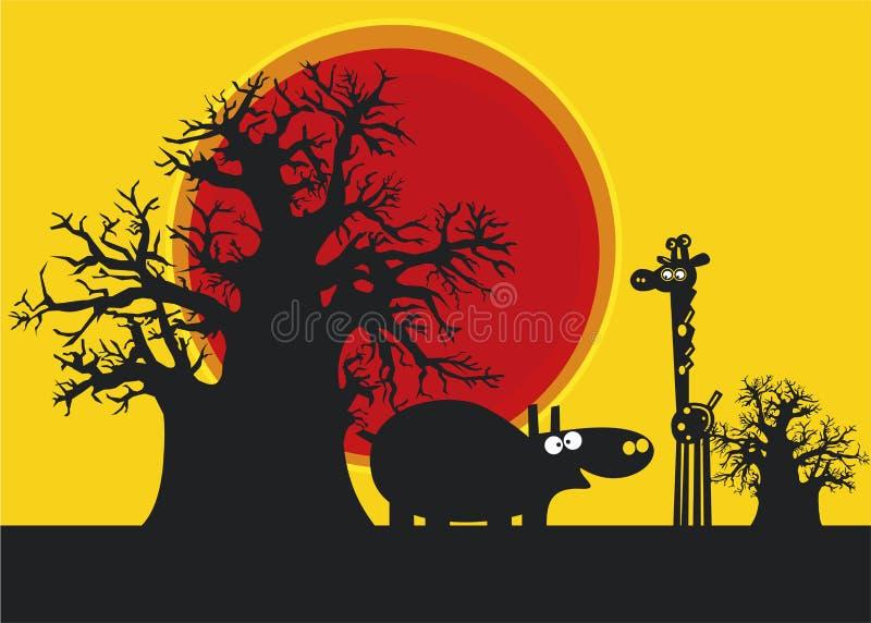 Silhuetas engraçadas do hippopotamus e do girafe ilustração do vetor