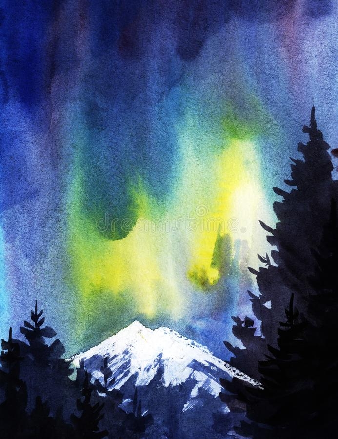 Silhuetas escuras de abetos altos na perspectiva da aurora boreal e das montanhas neve-tampadas ilustração stock