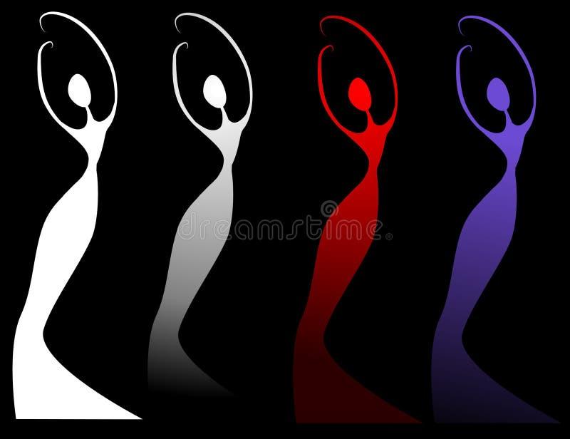 Silhuetas fêmeas no preto ilustração stock