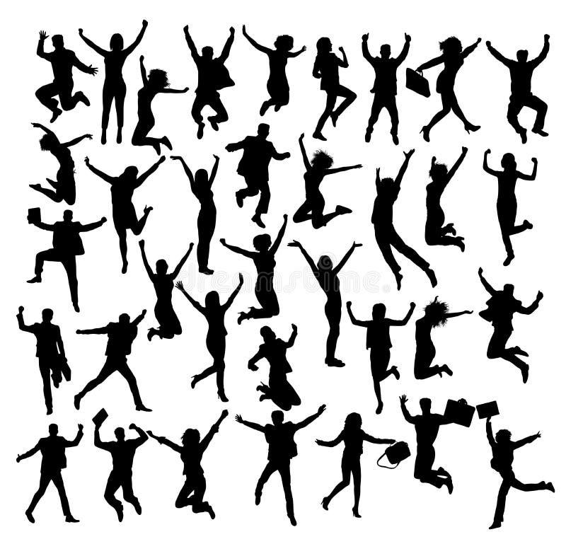 Silhuetas felizes dos povos do negócio e do salto ilustração royalty free