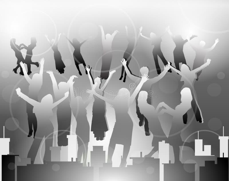 Silhuetas felizes dos povos na cidade ilustração do vetor