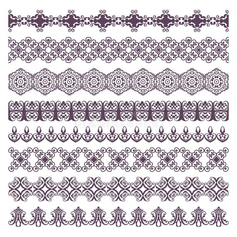 Silhuetas florais da tatuagem da hena da beira Ajuste para bandeiras e ethn ilustração do vetor