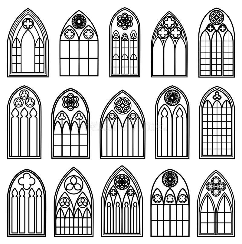 Silhuetas góticos da janela ilustração stock