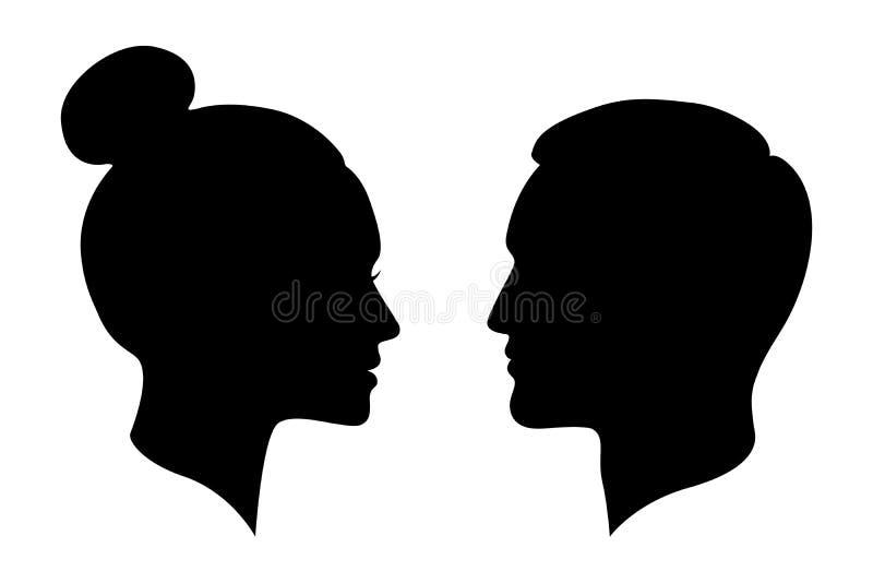 Silhuetas gráficas do homem e da mulher ilustração do vetor