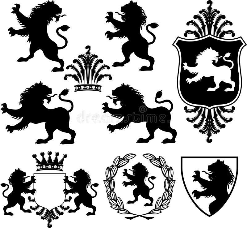Silhuetas heráldicas do leão ilustração do vetor