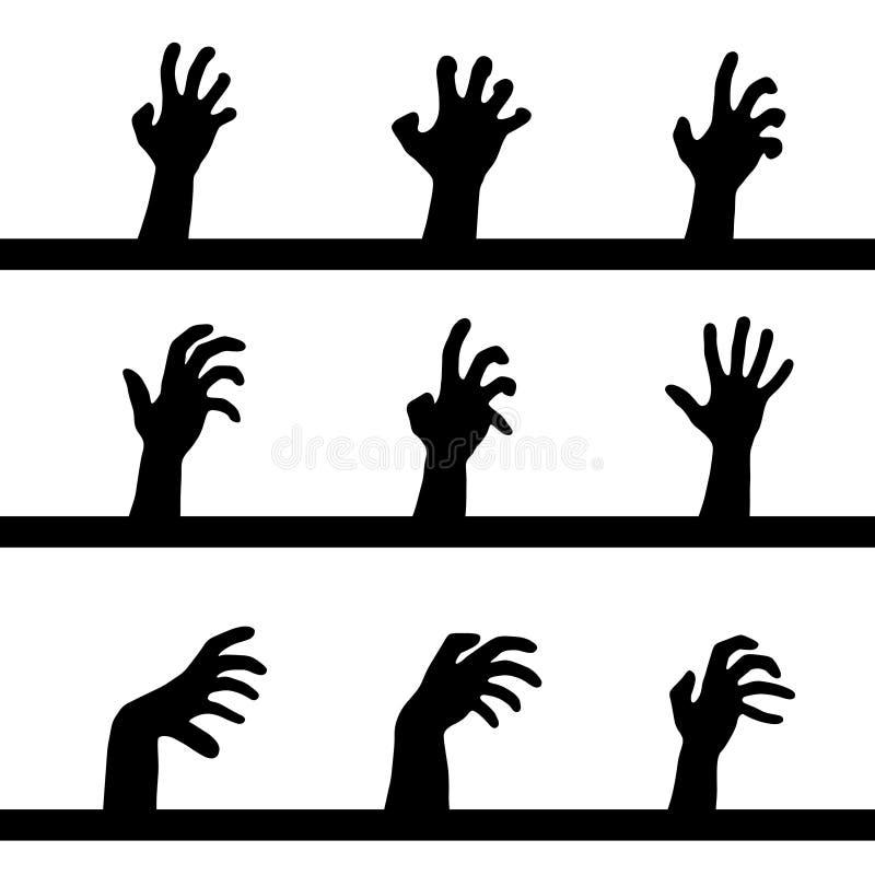Silhuetas humanas das mãos ajustadas ilustração stock