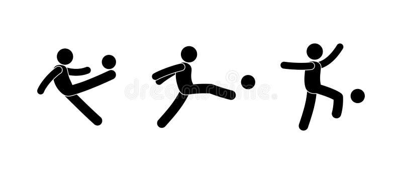silhuetas humanas isoladas com uma bola ilustração stock