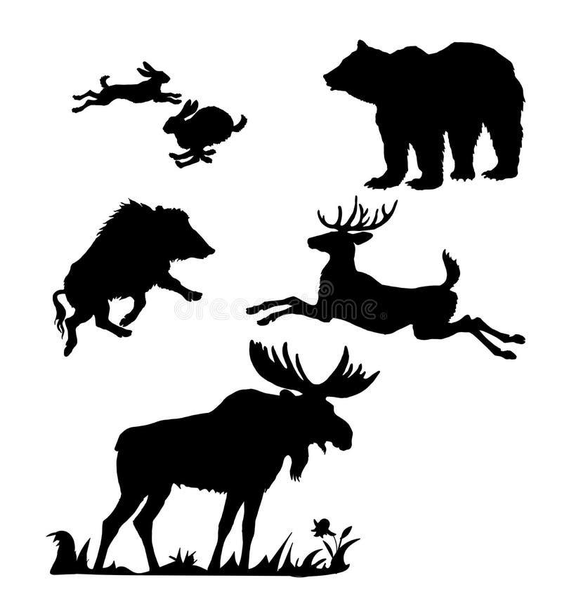 Silhuetas isoladas pretas dos animais selvagens europeus e de florestas norte-americanas no fundo branco ilustração royalty free