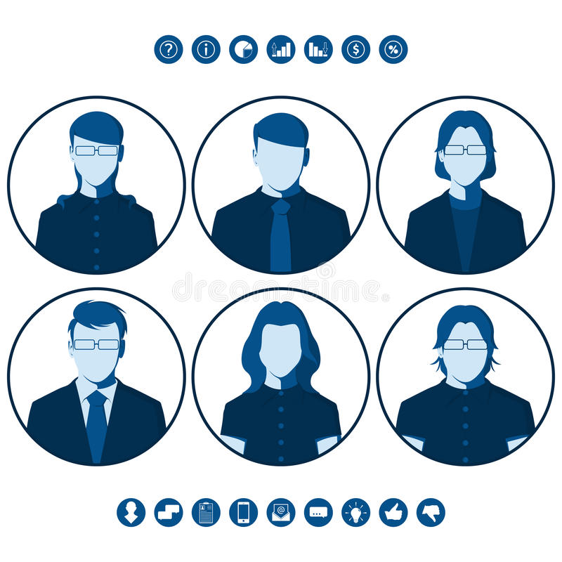 Silhuetas lisas dos executivos para a imagem do perfil de usuário ilustração do vetor