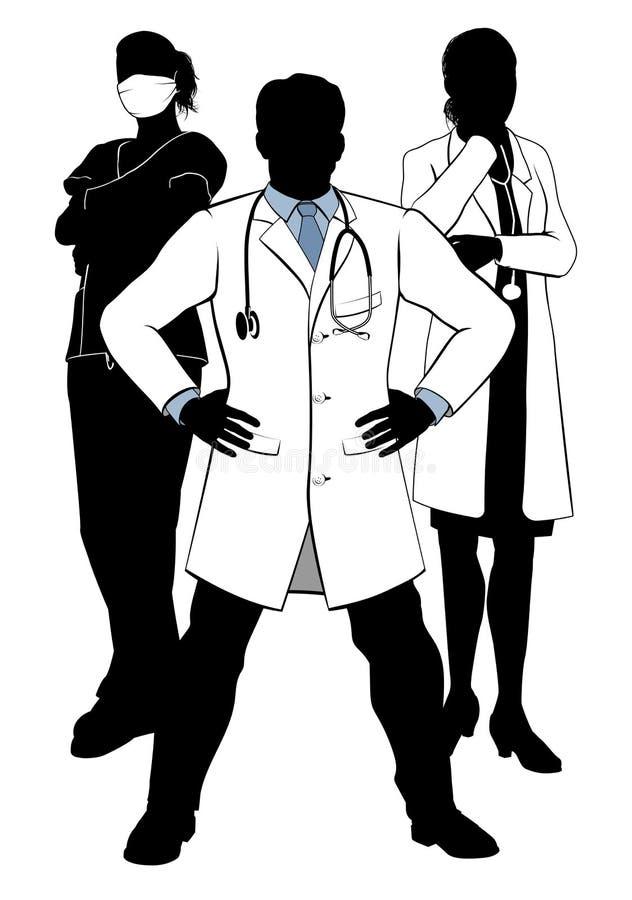 Silhuetas médicas do grupo de Team Doctors e das enfermeiras ilustração royalty free